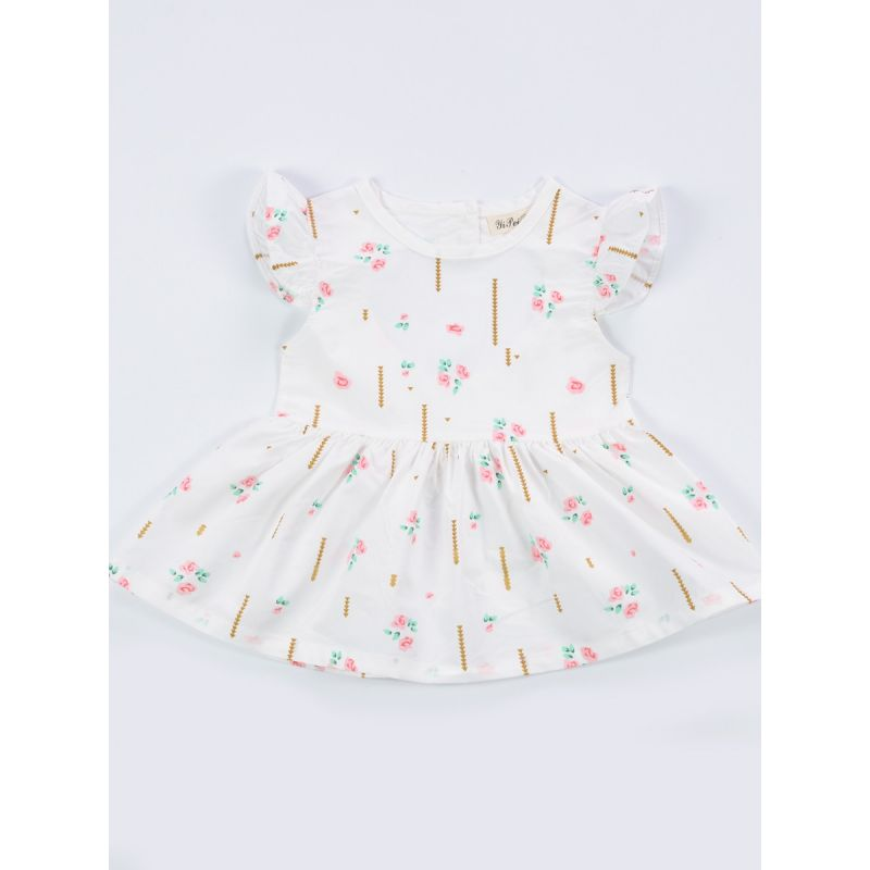 Flower Flutter Sleeve Baby Dress Casual Summer Beach Dress with Heart Cutout