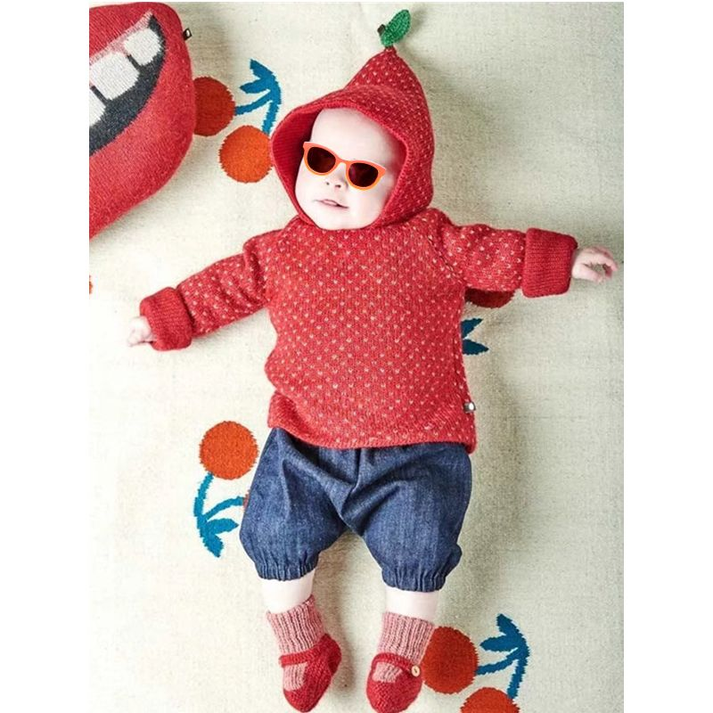 Kiskissing Strawberry Hooded Cotton Sweater Long sleeve Top Knitted for Toddlers Girls trendy kids wholesale clothing