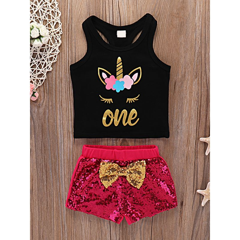 2-piece Hot Sale Sequin Set Sleeveless One Letter Unicorn Printed T Shirt Bowknot Shorts For Baby Boys Girls