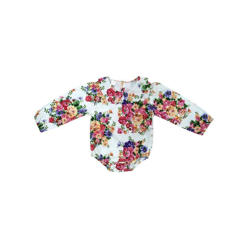 Spring Peter Pan Collar Floral Infant Girl Onesie Romper