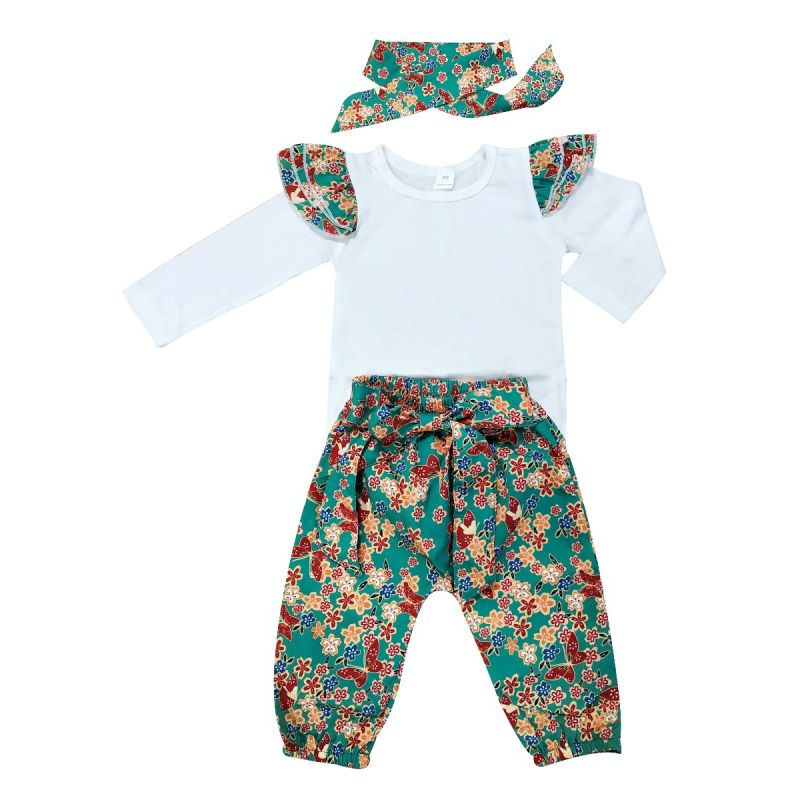 3-Piece Spring Baby Girl Vintage Clothes Outfits Set Flutter Long-Sleeved Bodysuit+Bow Floral Pants+Headband