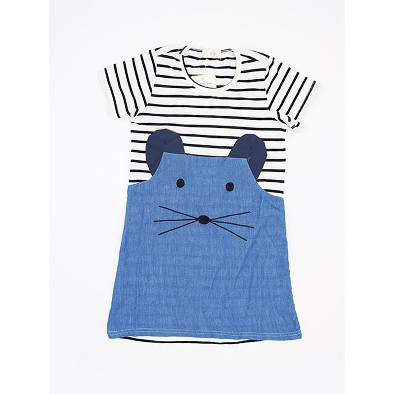 Kiskissing Cute Mice Pattern Striped Cotton Paneled Dress Top for Toddlers Girls toddler girl wholesale clothing