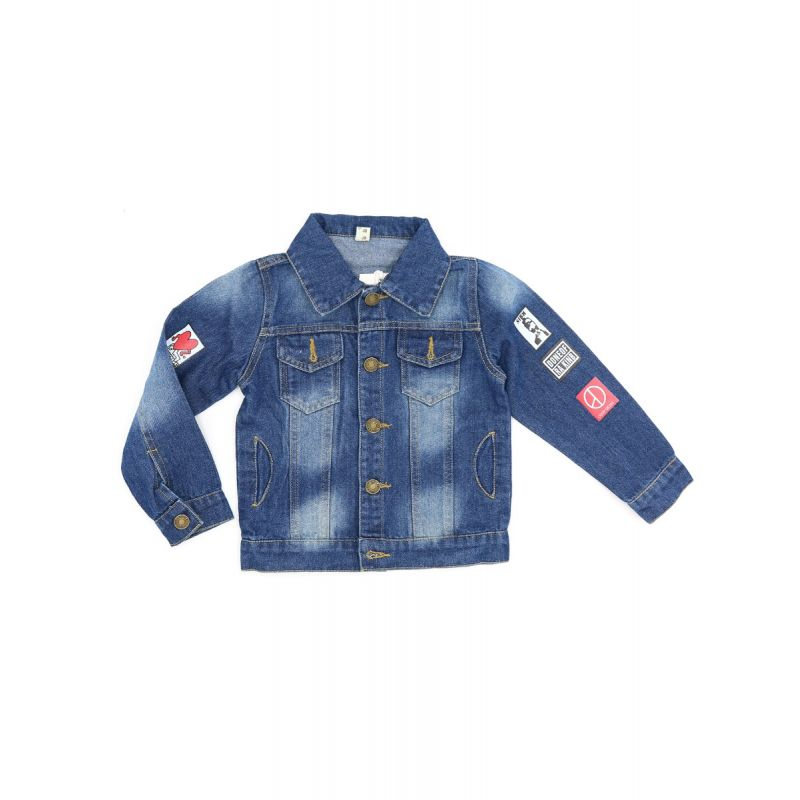 Kiskissing Cool Denim Coat Jacket Long-sleeve Buttoned Pockets or Toddlers Boys Girls wholesale toddler boutique clothing the obverse side