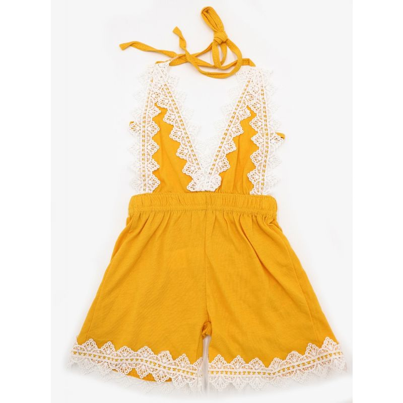 Kiskissing Sleeveless Straped Backless Lace Overalls Jumpsuit for Babies the obverse side wholesale kids boutique clothing