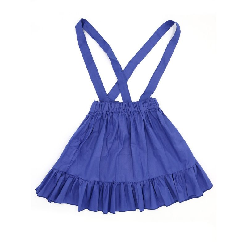 Solid Color Blue Stylish Cotton Strapped Pleated Skirt for Girls Cute