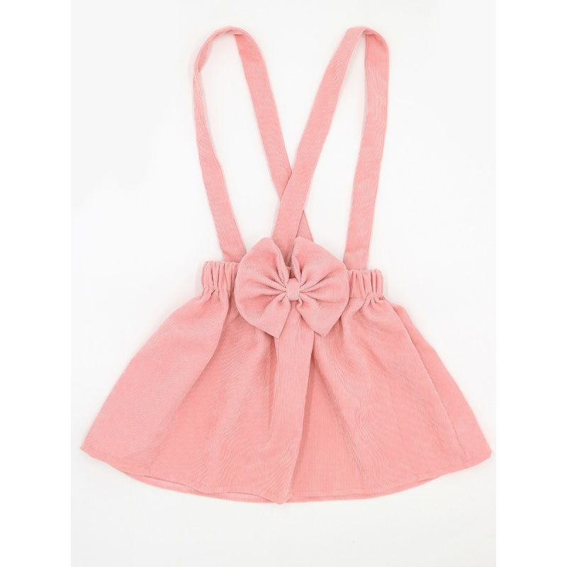 Pink Strapped Big Bow Corduroy Skirt Solid Color for Toddlers Girls Princess