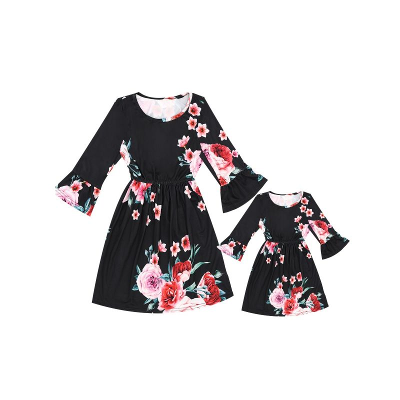 Mommy and Me Floral One Piece Fit and Flare Dress Long Sleeve