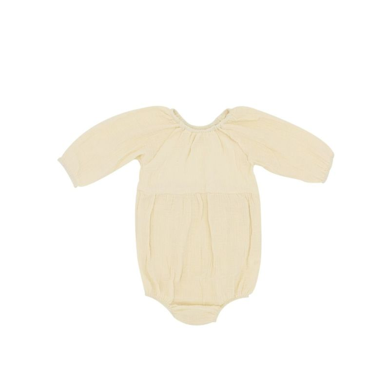 Japanese Style Solid Color Long-sleeved Baby Romper