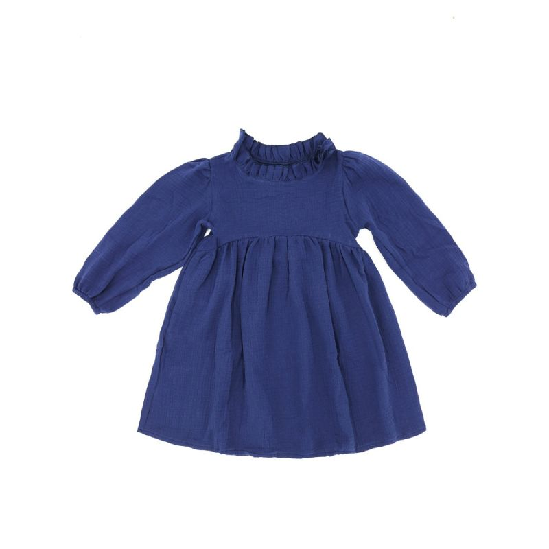 Casual Ruffled Collar Baby Toddler Girl One-Piece Dress for Spring Autumn