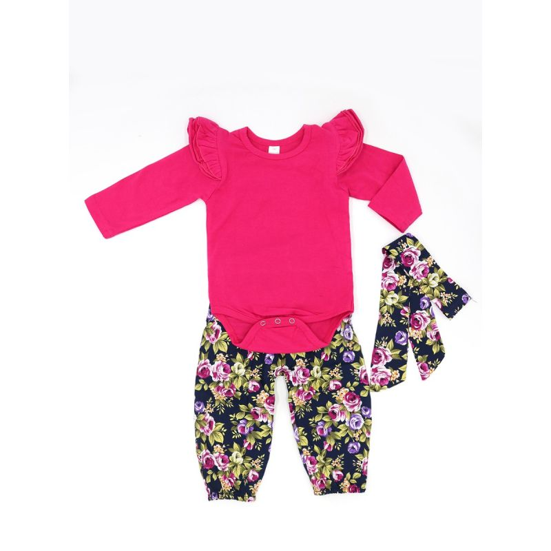 3-piece Infant Girl Spring Casual Onesie Clothes Outfits Set Red Flutter Sleeve Onesie+Floral Pants+Headband
