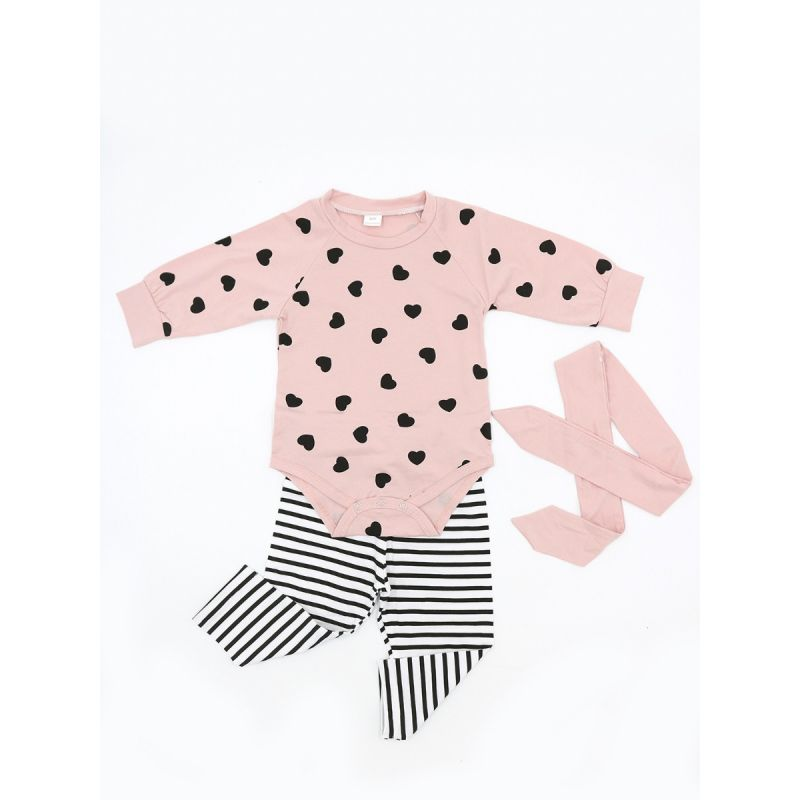 3-piece Baby Girls Spring Bodysuit Clothing Outfits Set Love Heart Bodysuit+Striped Pants+Pink Bowknot Headband