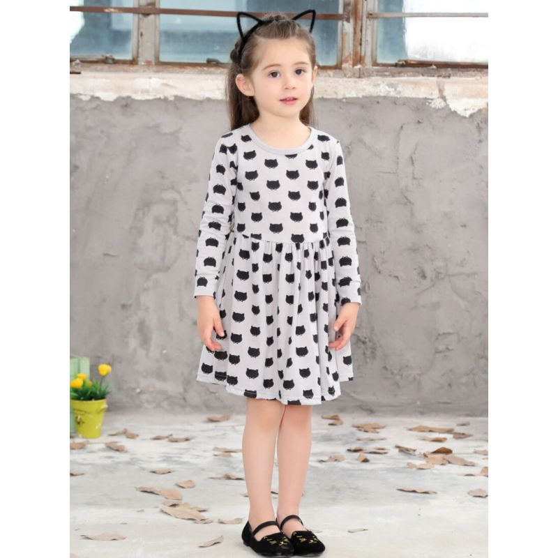 Long Sleeve Cute Cats Printed Dress for Toddlers Girls wholesale toddler boutique clothing