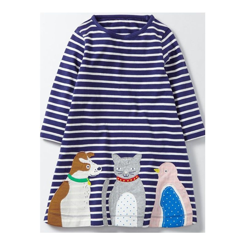 Long Sleeve Cartoon Cats Stripe Printed Dress for Toddlers girls children's boutique clothing wholesale