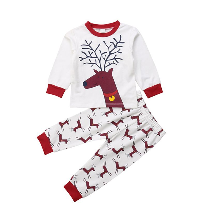 2-piece Spring Children's Clothing Homewear Set Reindeer Long Sleeved T-shirt+Trousers