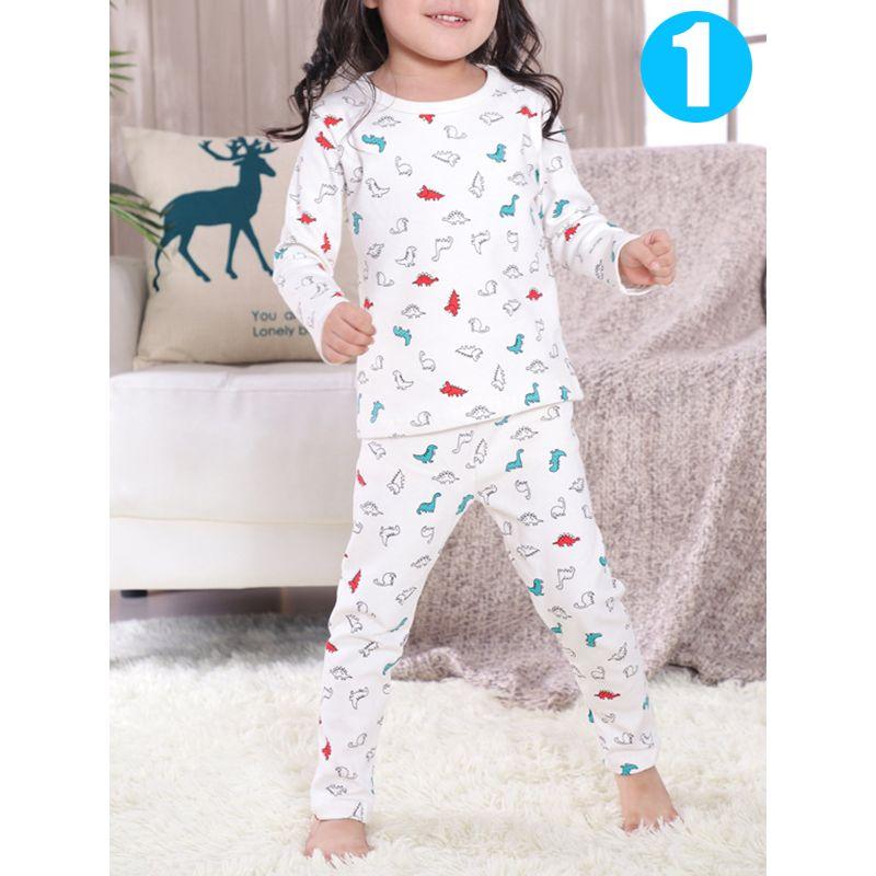 2 piece Baby Kids Cartoon Pajamas Set Cute Cotton Unicorn Penguin Dog Toddler Sleepwear
