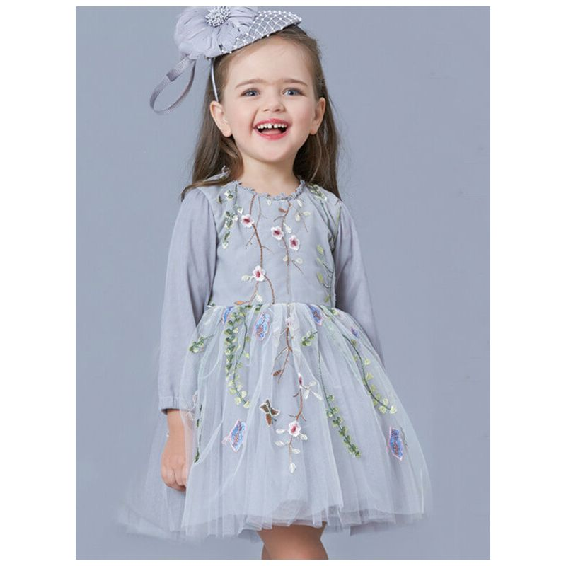Tulle Flowers Long Sleeve Princess Dress for Toddlers and Girls kids clothing wholesale suppliers