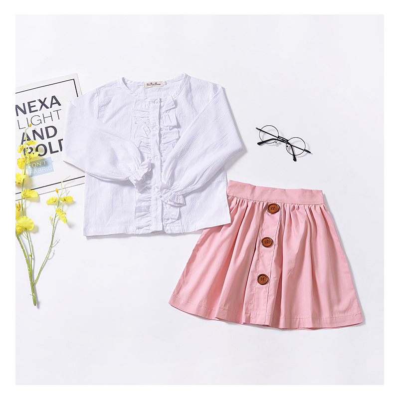 2-Piece Baby Toddler Girl Casual Clothes Set Ruffled White Shirt Top+Buttoned Pink Skirt