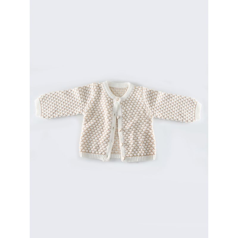 Spanish Style Crochet Dots Baby Girl Cardigan Cotton Knitted Outwear