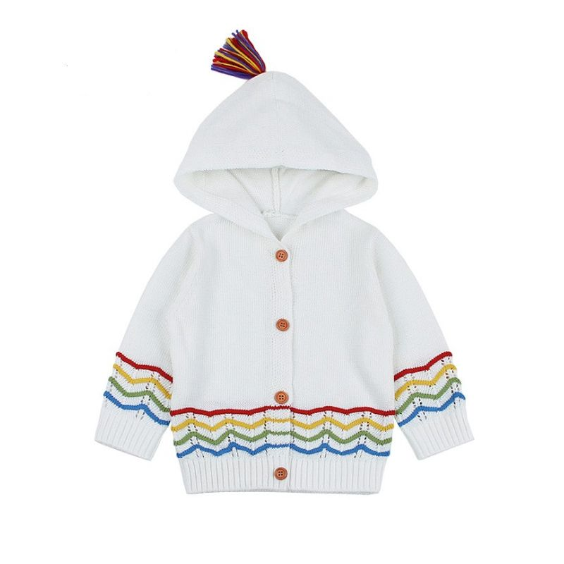 Baby Boys Girls Knit Hooded Cardigan Infant Buttoned Hooded Coat with Tassel