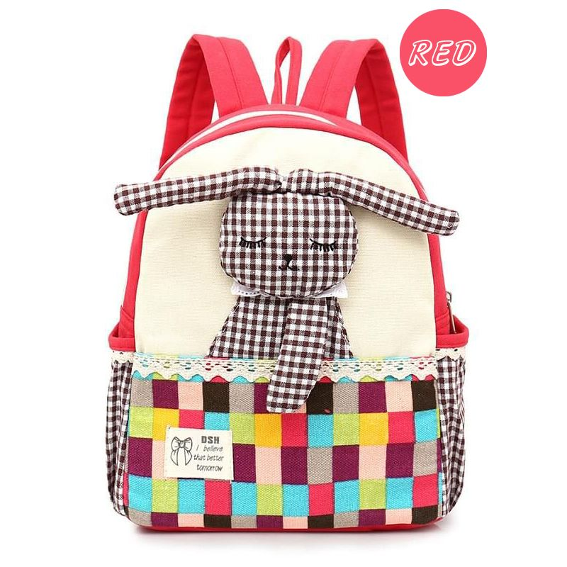 Kiskissing Cute red Rabbit Plaid Wear-proof Canvas Schoolbag Backpack for kindergarten Kids Back to School wholesale childrens accessories